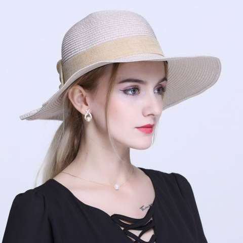 76c64be0bec6a Summer bow straw sun hat for women package beach hats UV protection ...