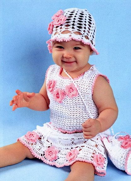 Handmade newborn crochet summer girls dress and hat, Different sizes, pink baby girl dress, summer girl dress - made to order by NinaZaida on Etsy