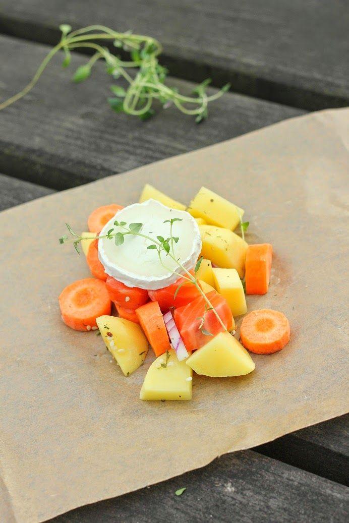 Pata porisee: Lohta ja vihanneksia paperissa