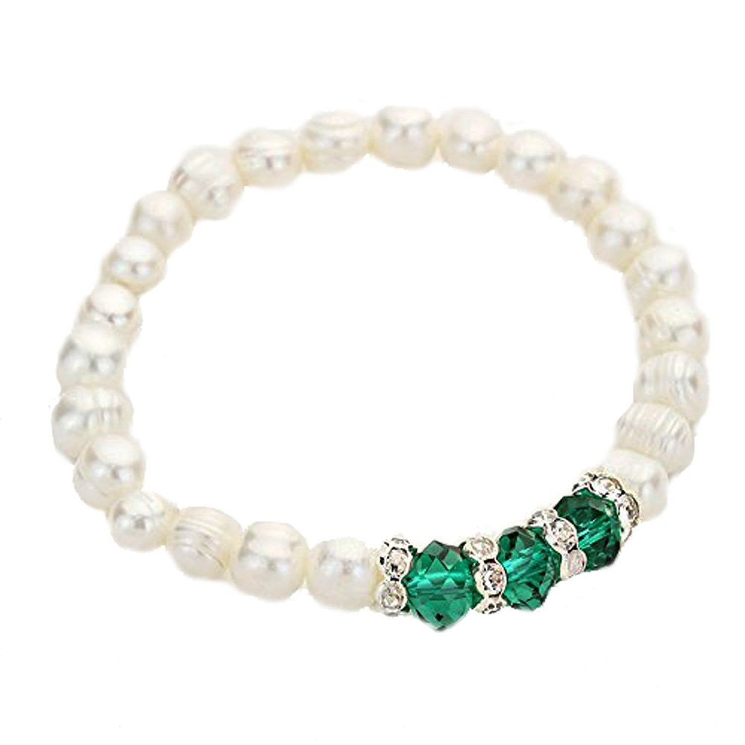 Classic Faux Pearl Bracelet with Emerald Color Crystals