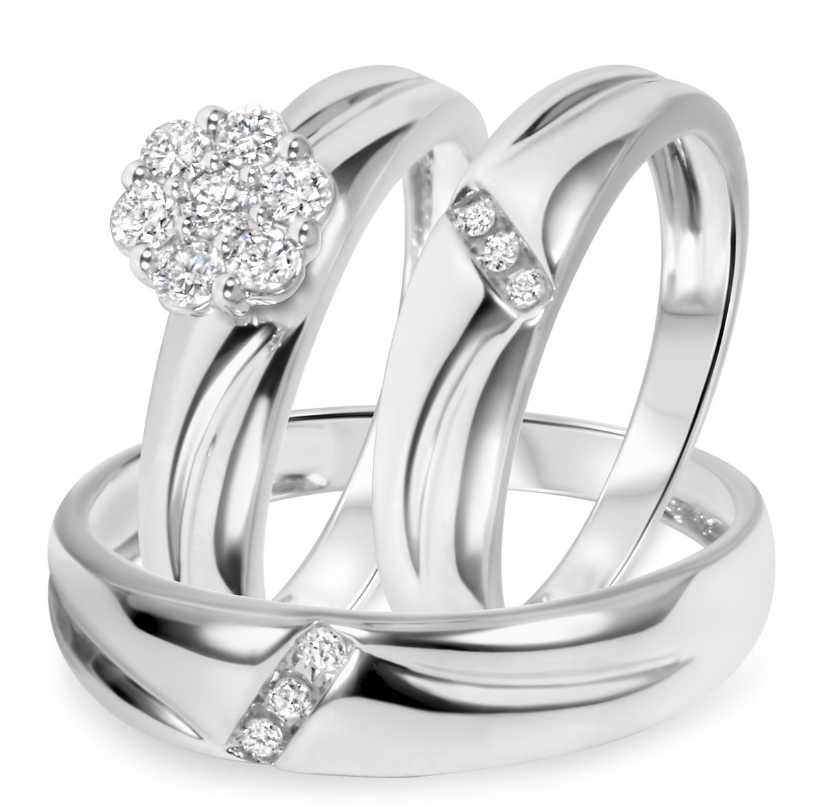 tw diamond trio matching wedding ring set 14k white gold - Trio Wedding Ring Sets