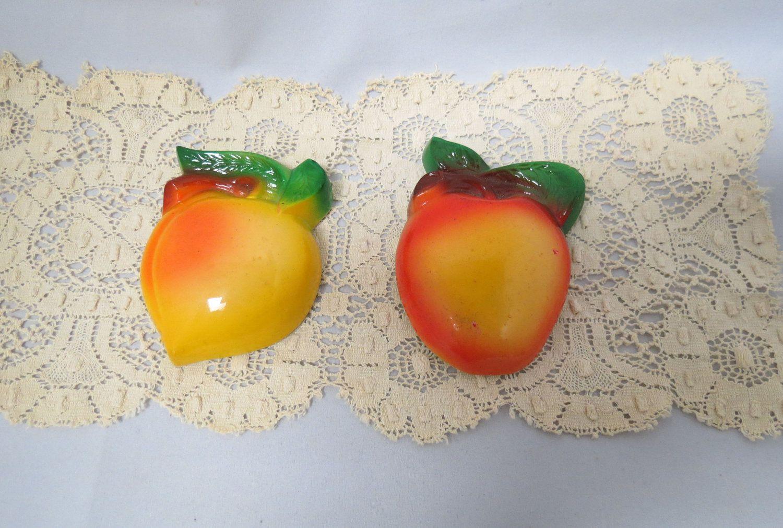 Vintage Chalkware Fruit Apple Peach Cherries Kitchen Decor Plaster Of Paris