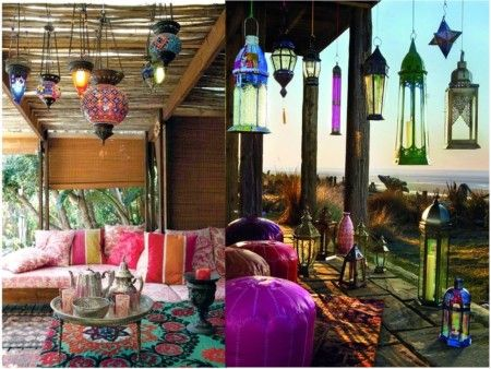 Decoración con luces de colores estilo étnico