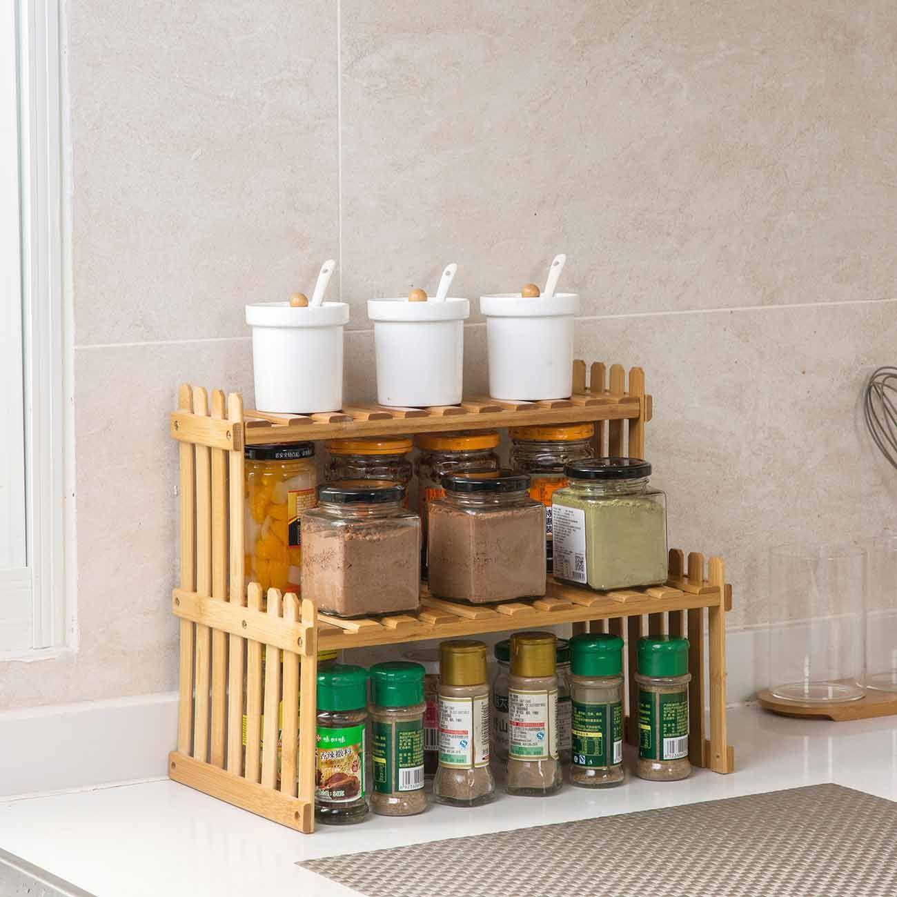new bamboo storage rack kitchen spice