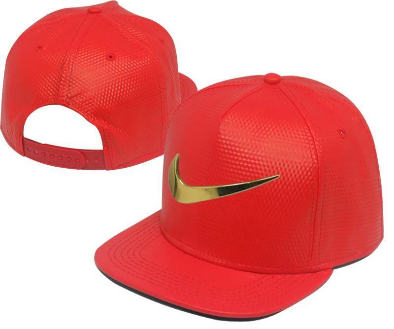 aa6d664860401 Men s Nike Jumbo Gold Metal Heritage Swoosh Logo Faux Leather Baseball  Snapback Hat - Red