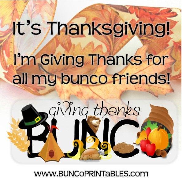 Giving Thanks Bunco Set | www.BuncoPrintables.com