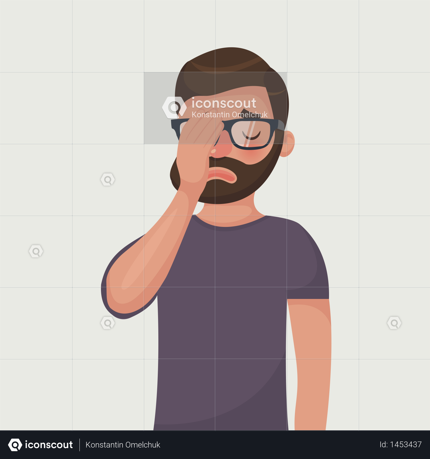 Premium Hipster Beard Man In Glasses Make A Face Palm Gestures Illustration Download In Png Vector Format Hipster Beard Bearded Men Mens Glasses