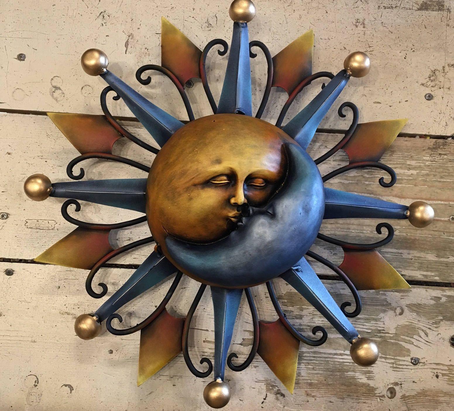 Wall Sun And Moon Eclipse Garden Sun And Moon Decorative Sun And Moon Kissing Sun And Moon By Mexdecor Moon Decor Sun Art Star Wall Art