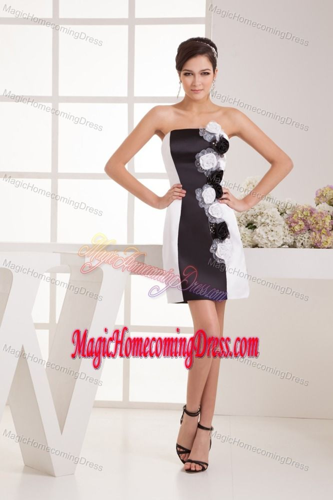 Black and White Handmade Flower Evening Homecoming Dress in Kansas