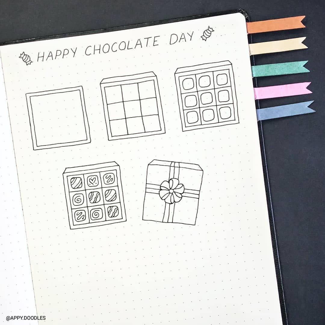 Cute Doodle Chocolate Box Valentine S Doodles Step By Step