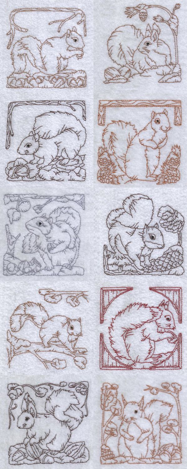 Machine Embroidery Designs - Redwork Squirrels Set | cross stitch ...