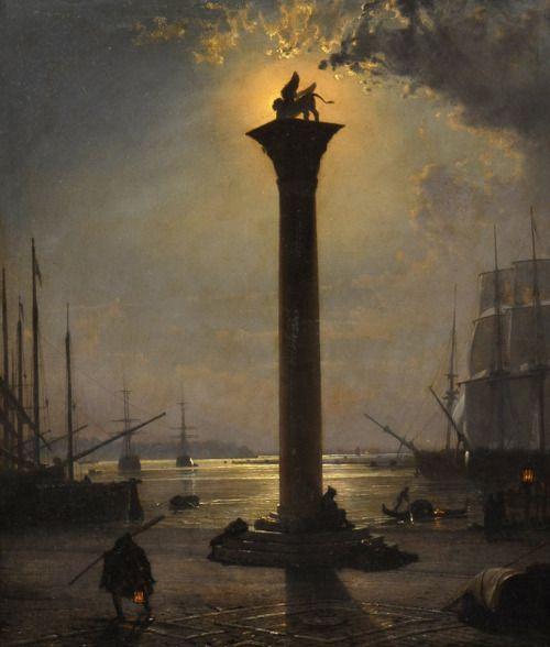 Friedrich Paul Nerly (1842-1919), Piazzetta San Marco al chiaro di luna