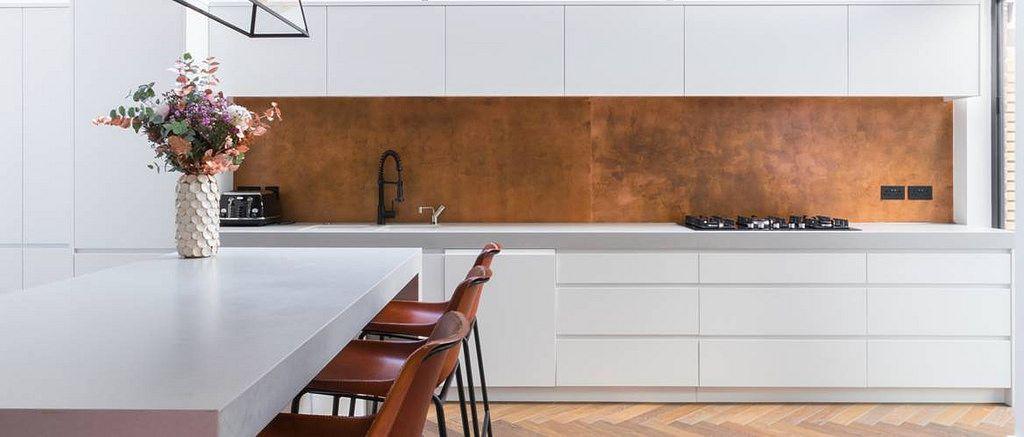 137 Aged Copper Splash Back Contemporary Kitchen Copper Kitchen Backsplash Kitchen Remodel Small