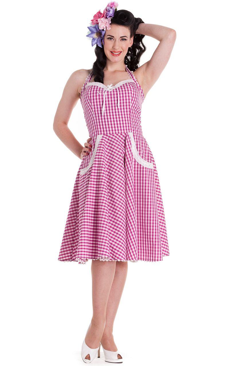 Charlotte Pink Gingham 1950s Halter Dress