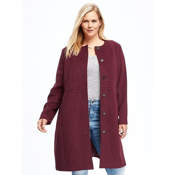 Old Navy Long Collarless Wool Blend Plus Size Coat (€83) ❤ liked ...