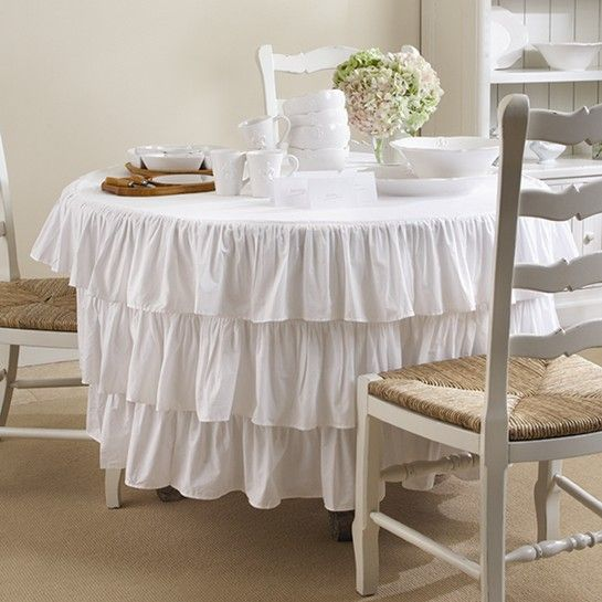 """Shabby Chic Kitchen Table Centerpieces: 90"""" Round.- Table Linen"""