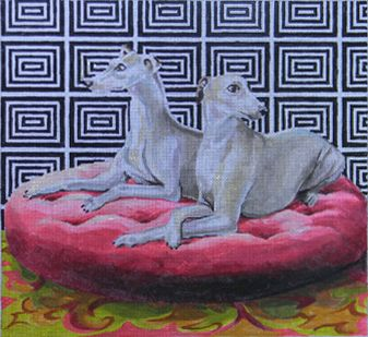 Needlepoint designs by Colors of Praise////Whippets AN106 13 X12 18M.