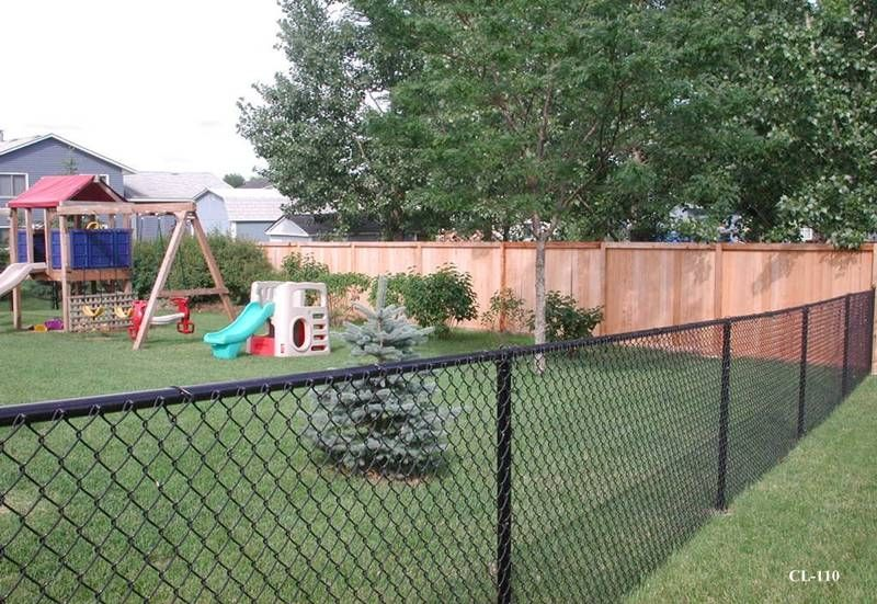 Nice Black Chainlink Fence And Cedar Fence Combo Chain Link