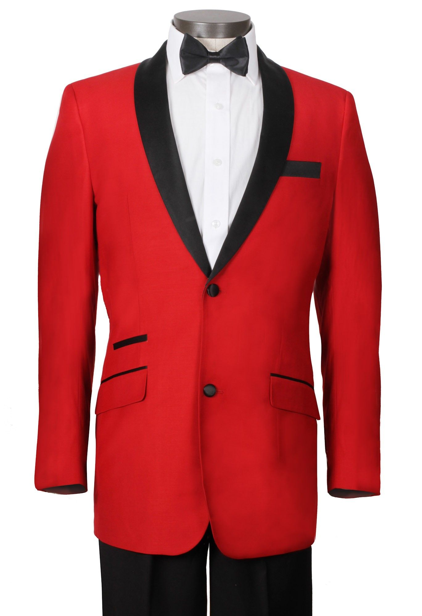 Man of Honor - Red Tuxedo Jacket with Black Shawl Lapel & Black ...