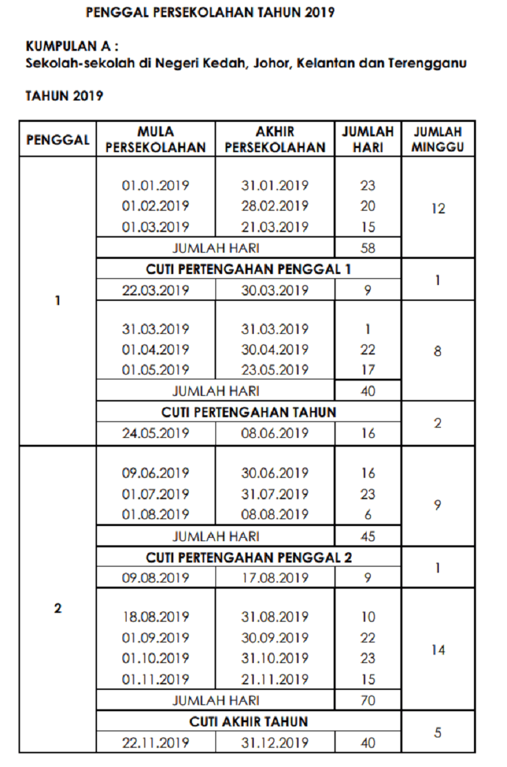 Cuti Sekolah 2019 Kumpulan A Calendar March Calendar Printables Calendar