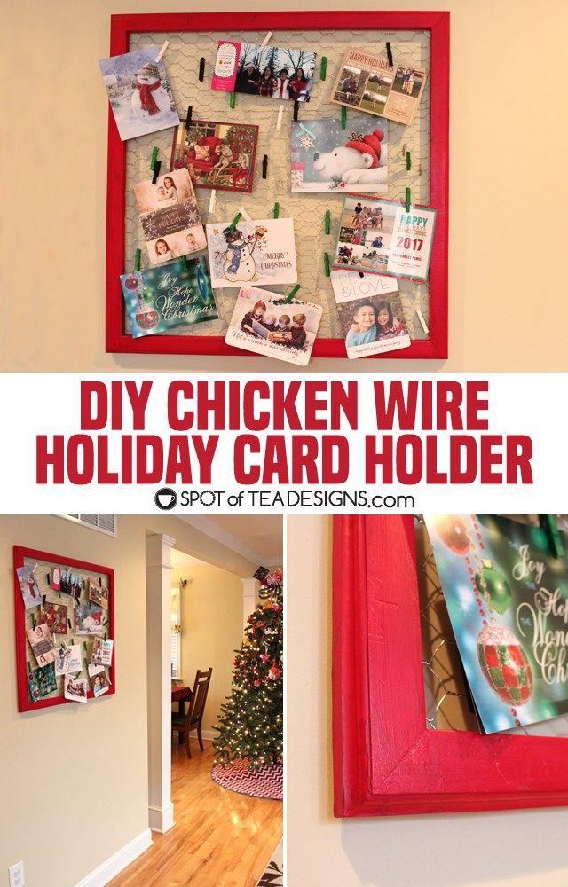 Chicken Wire Holiday Card Display | Tea design and Chicken wire