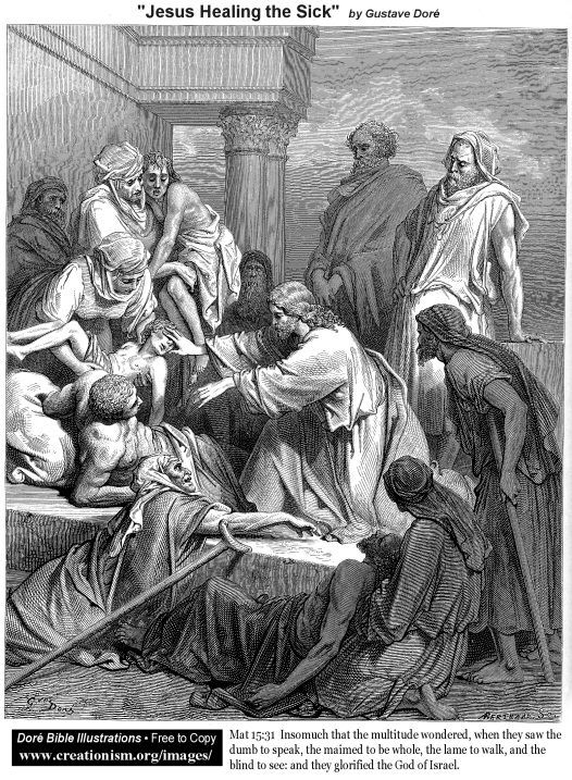 Jesus Healing the Sick.  Gustave Dore.