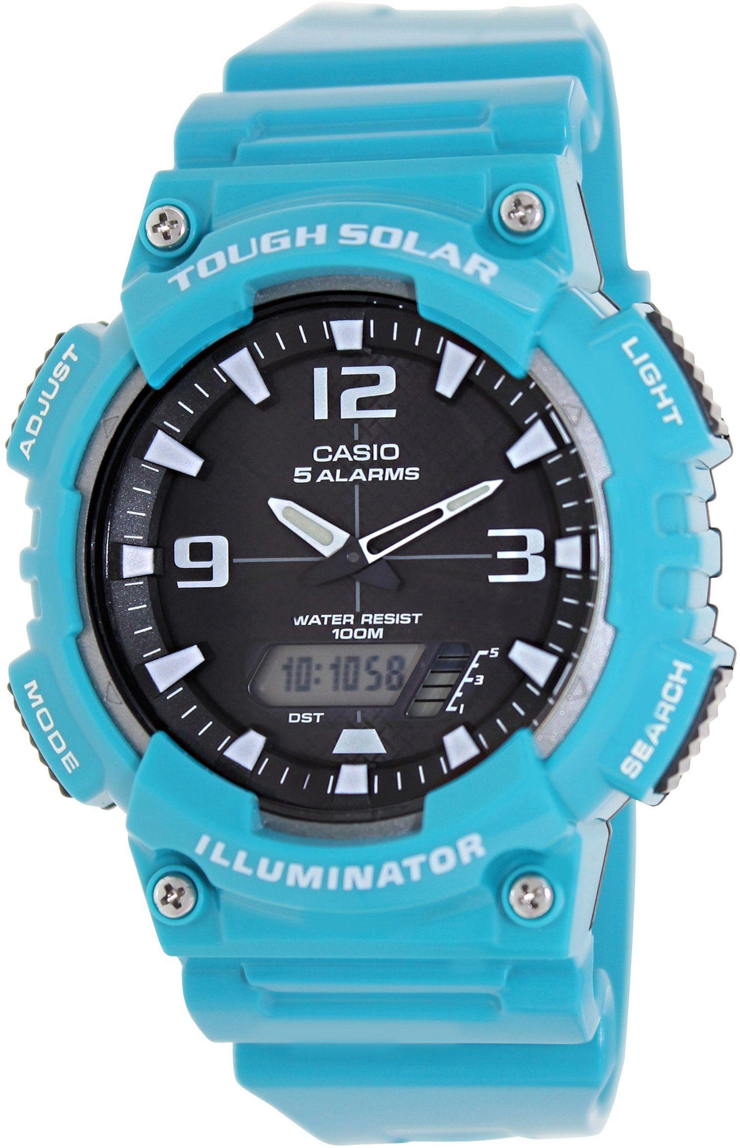 Amazon.com: Casio #AQ-S810WC-3AV Men's Teal Solar Analog Digital World Time Sports Watch: Casio: Watches