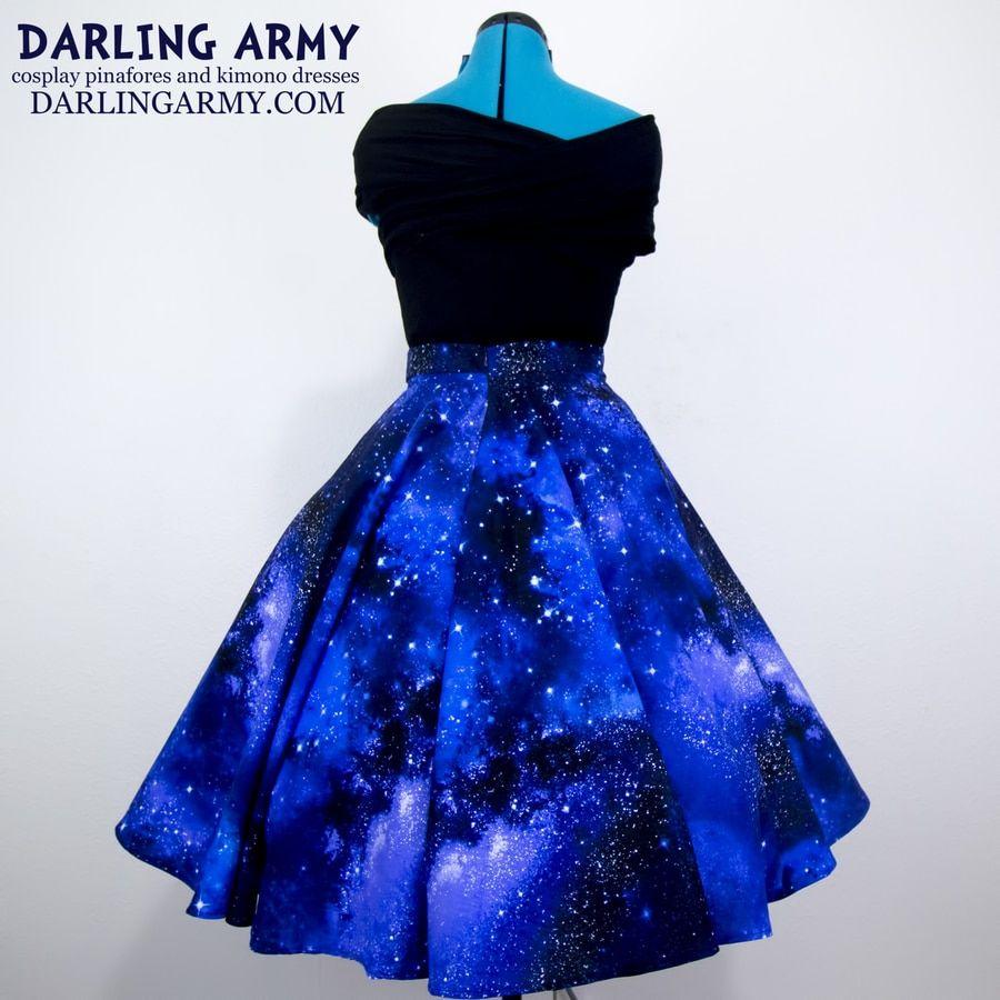 Galaxy Girl Pinup Skirt Galaxy Dress Pinup Skirt Cute Prom Dresses [ 900 x 900 Pixel ]