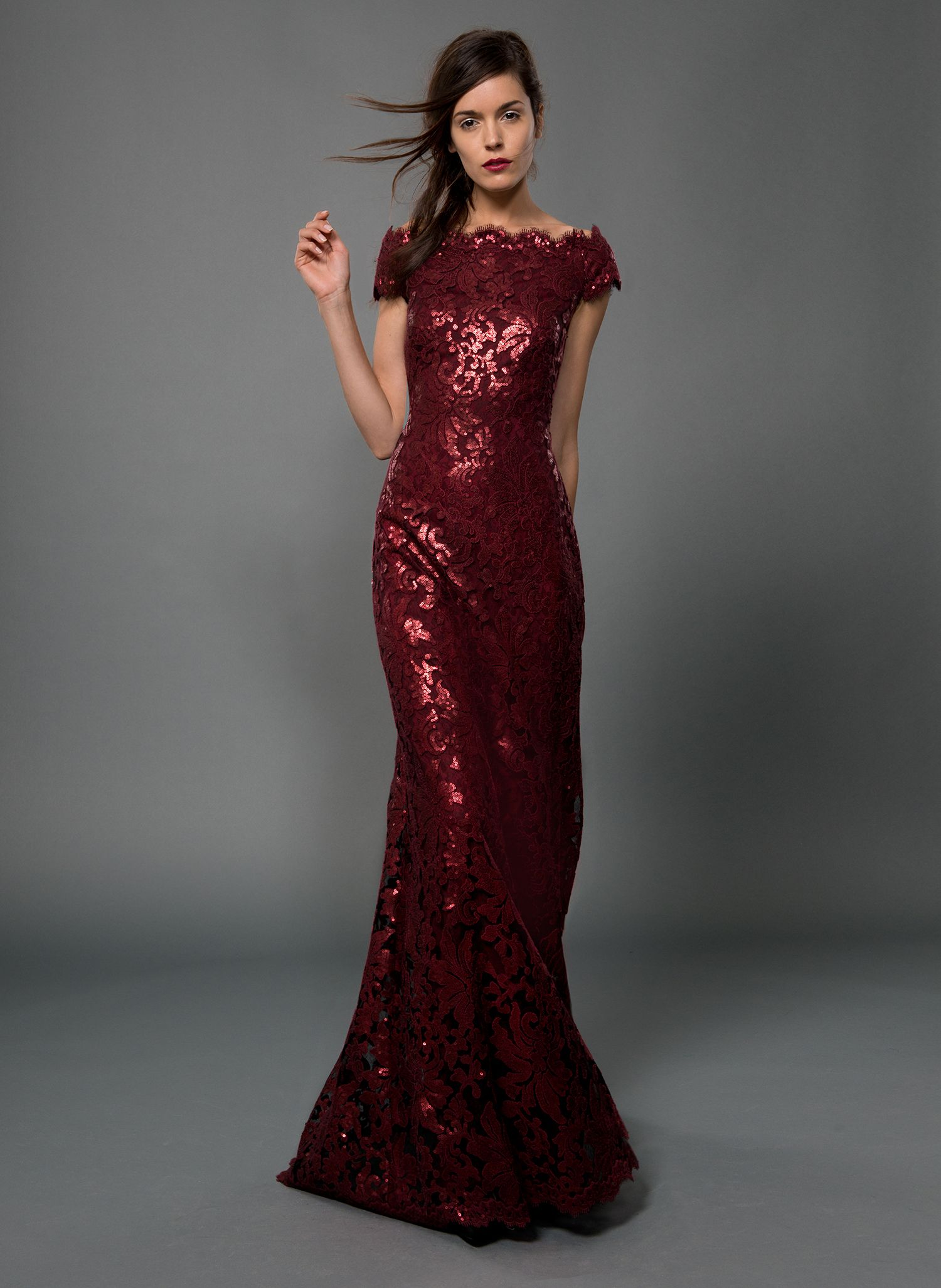 Paillette Embroidered Lace Off Shoulder Cap Sleeve Gown in ... - photo#1