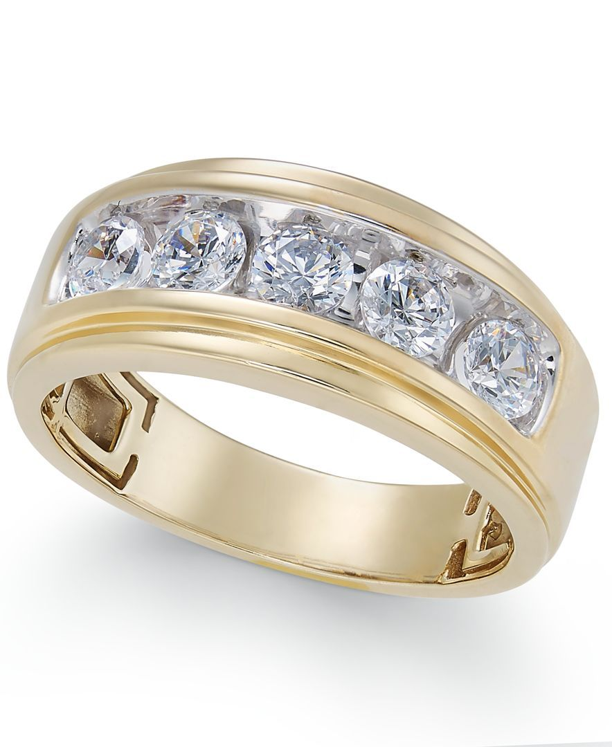 Men S Diamond Five Stone Ring 1 1 2 Ct T W In 10k Gold Mens Diamond Wedding Bands Mens Gold Wedding Band Men Diamond Ring