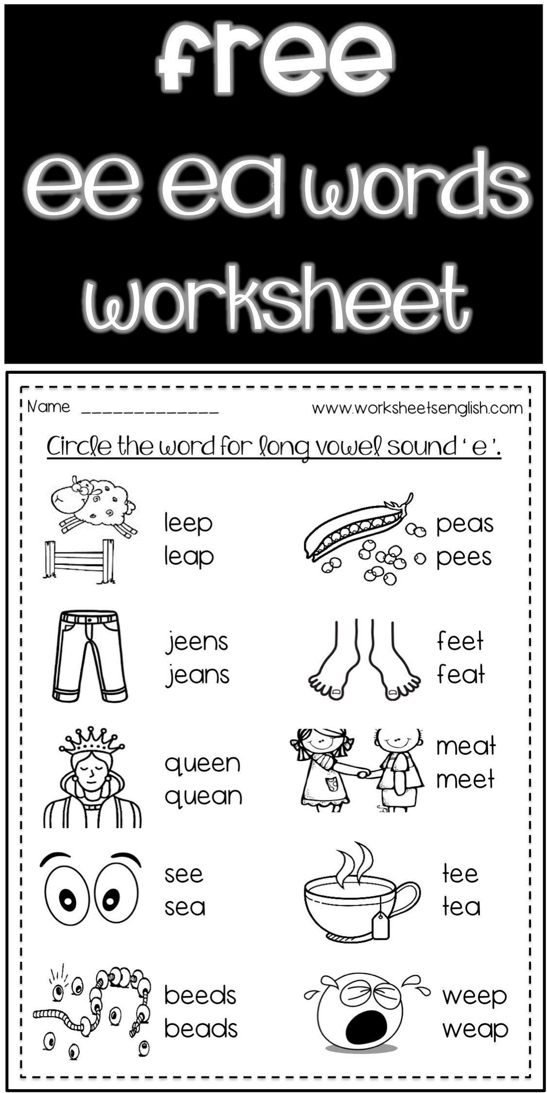Long Vowel Words Spell Worksheets Free Www Worksheetsenglish Com Ea Words Long Vowel Words First Grade Phonics [ 2249 x 1125 Pixel ]