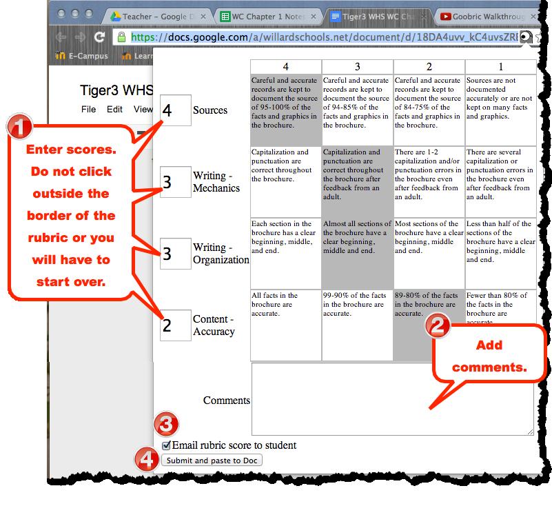 Goobric Google Docs Rubric Script Rubrics Teaching Techniques Teaching Inspiration