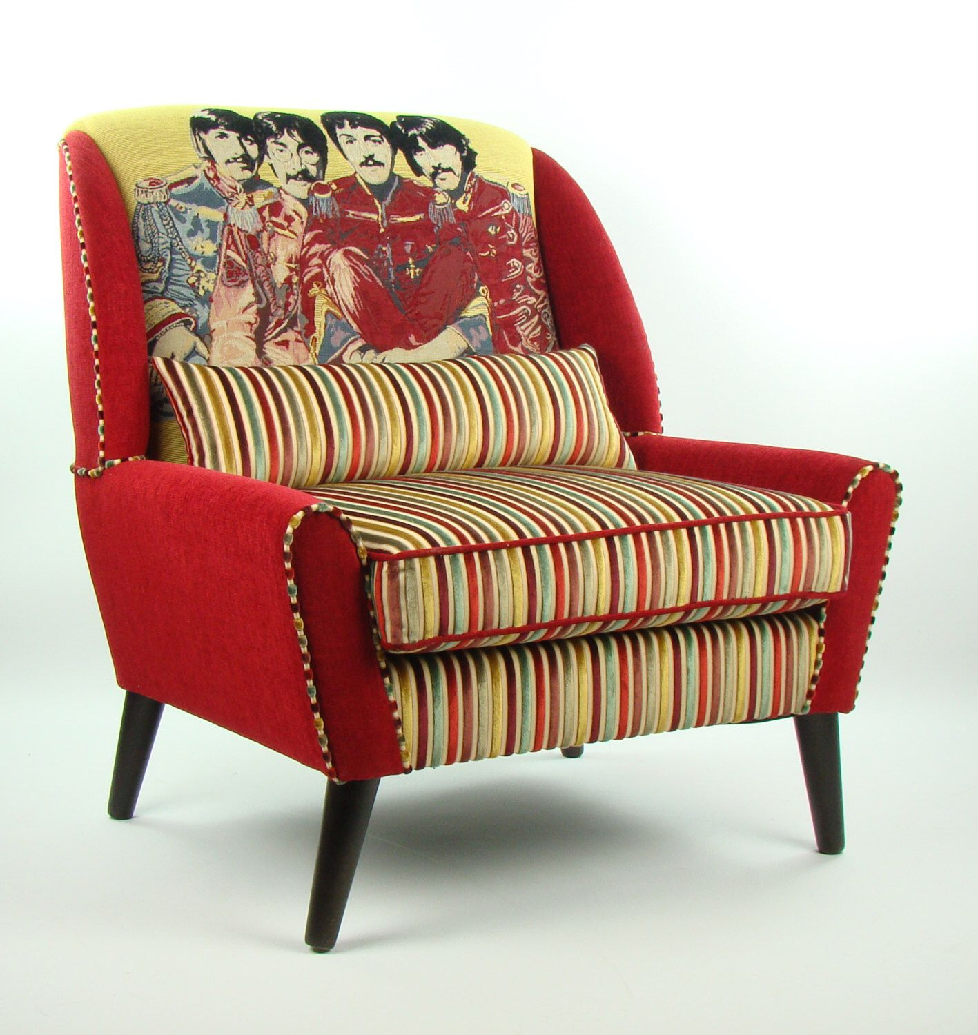 Retro The Beatles Armchair Andrew Martin Fabric by JustinaDesign