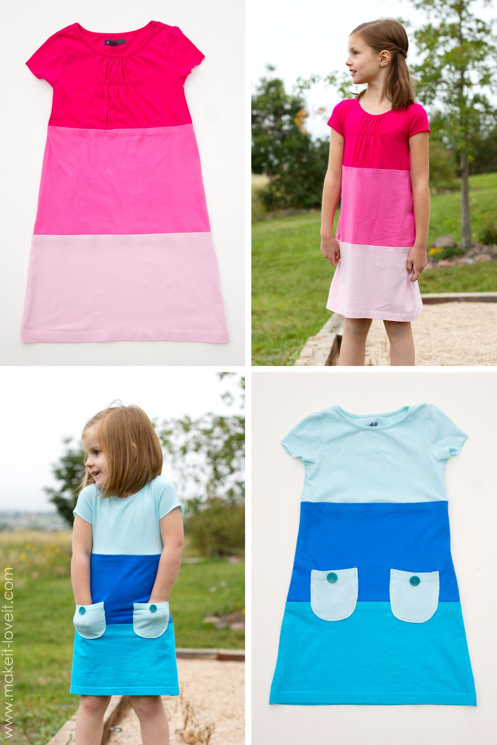 Make a Color-Block Dress with pockets (...from old Tshirts   Kleid ...