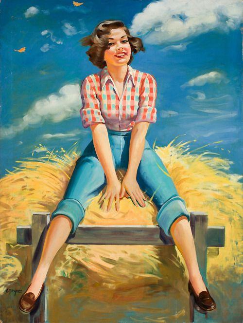 "Hayride. - Illustration by Barbara Ellen Segner. - Board ""Art-Barbara Ellen Segner"". -"