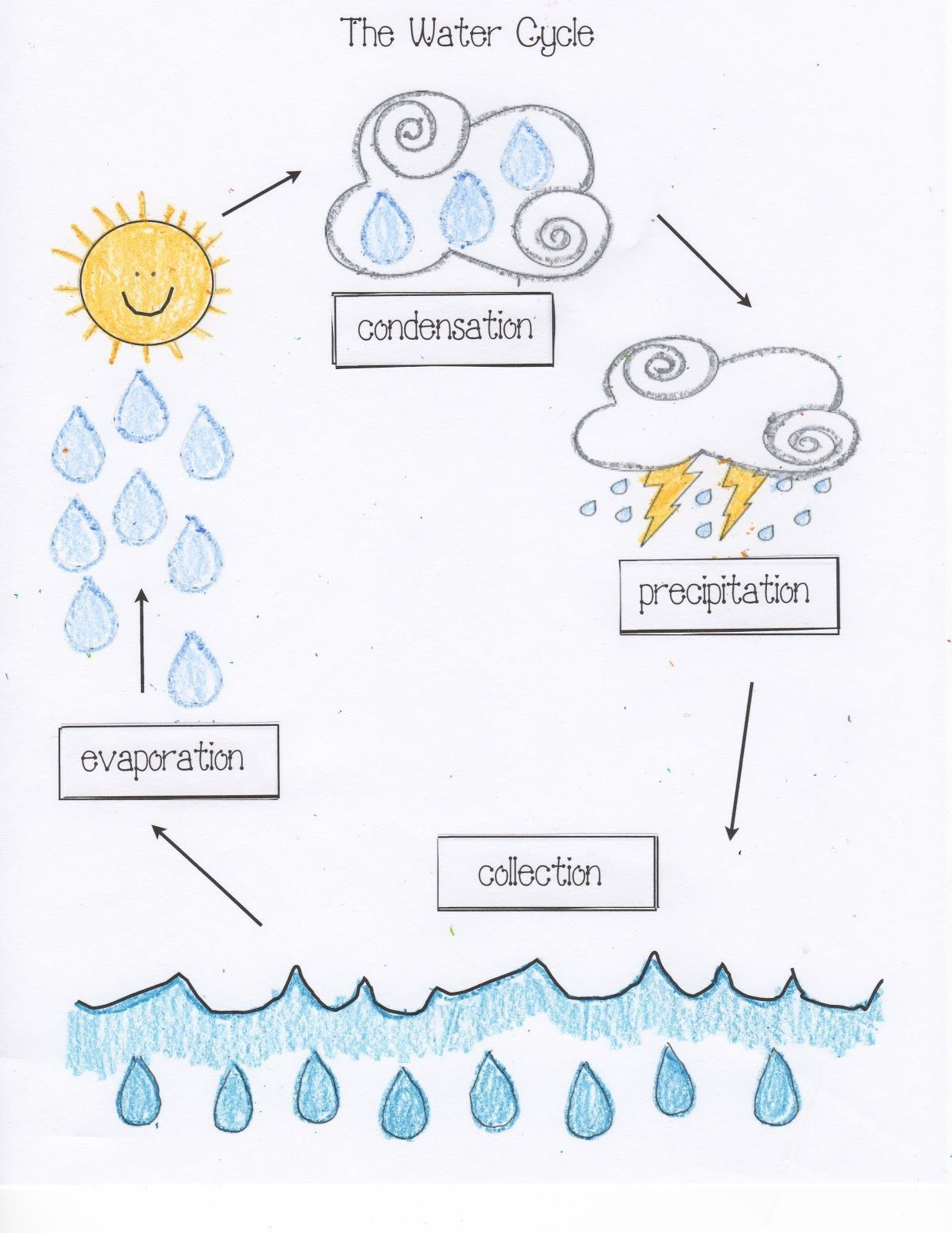 Water Cycle For Kindergarten Worksheets In