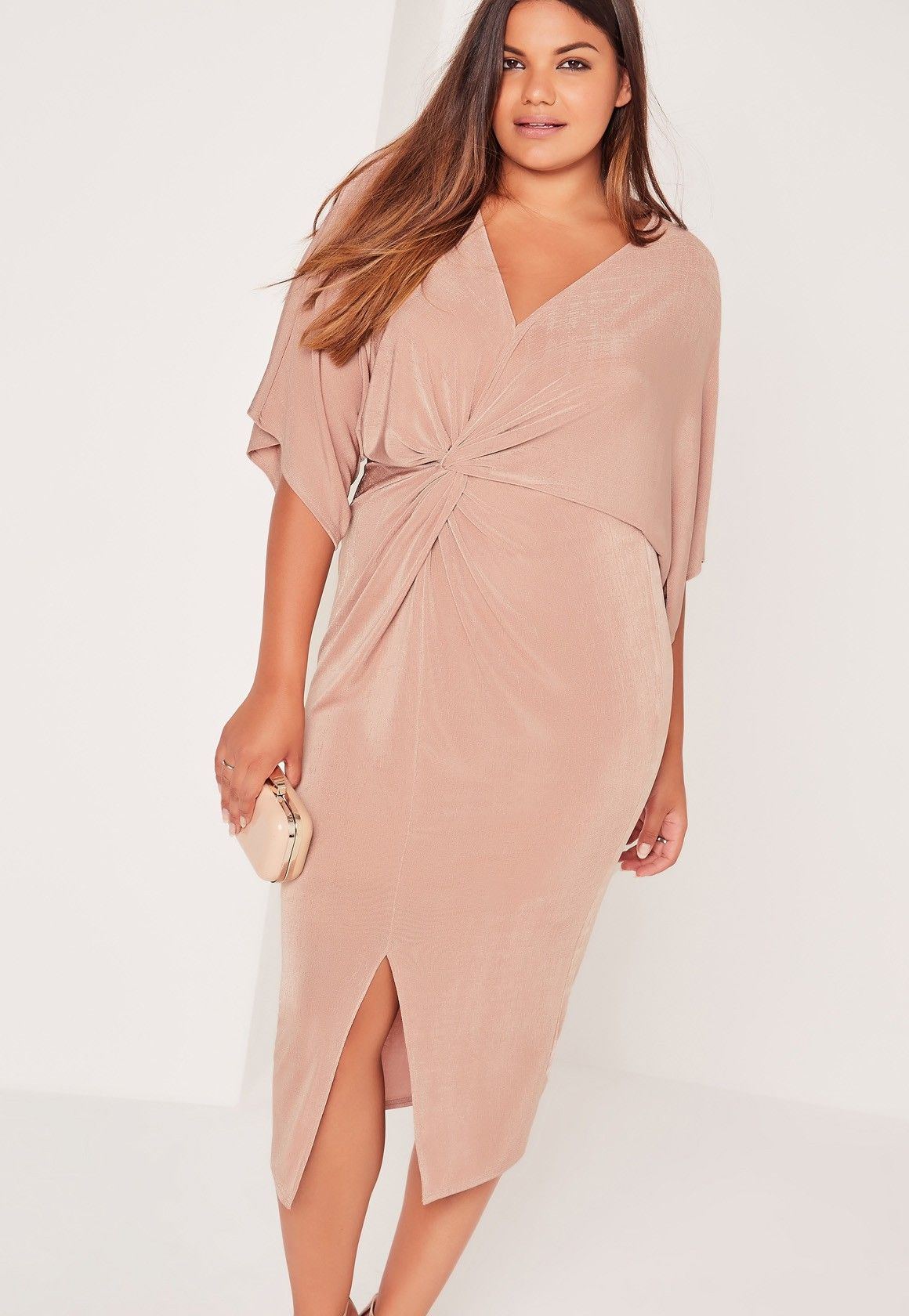 9717c9d6b5fd4 Missguided - Plus Size Slinky Kimono Midi Dress Pink