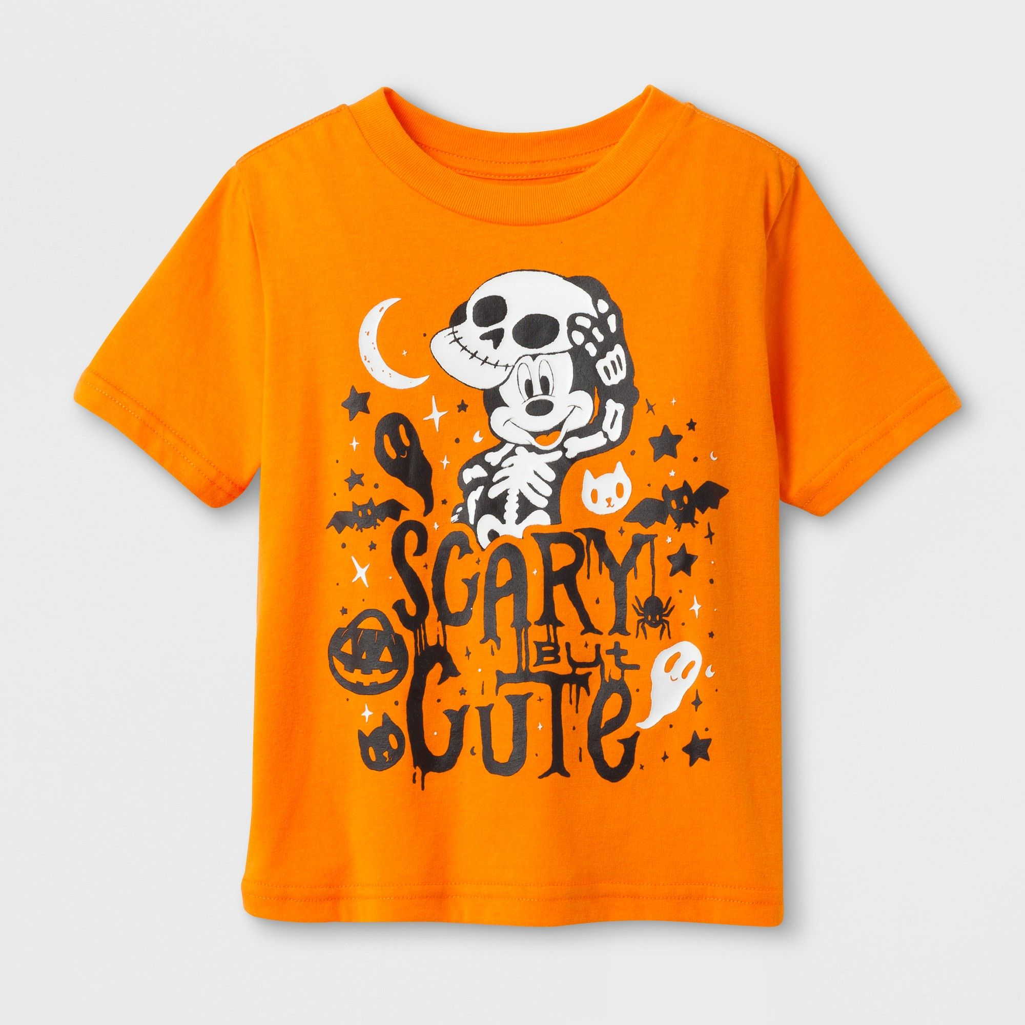 e6dfc93b5 Mickey Mouse Toddler Boys' 'scary BUT Cute' Halloween Short Sleeve T-Shirt  - Orange 2T
