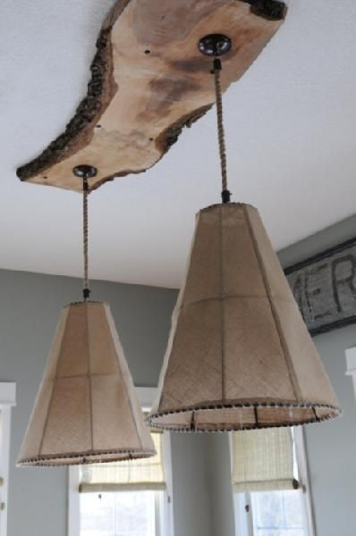 burlap lights hung on salvage piece of raw wood Küche Pinterest