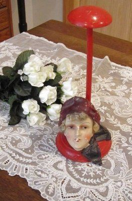 Antique Flapper Girl Doll Face Head Hat Stand Classic | eBay