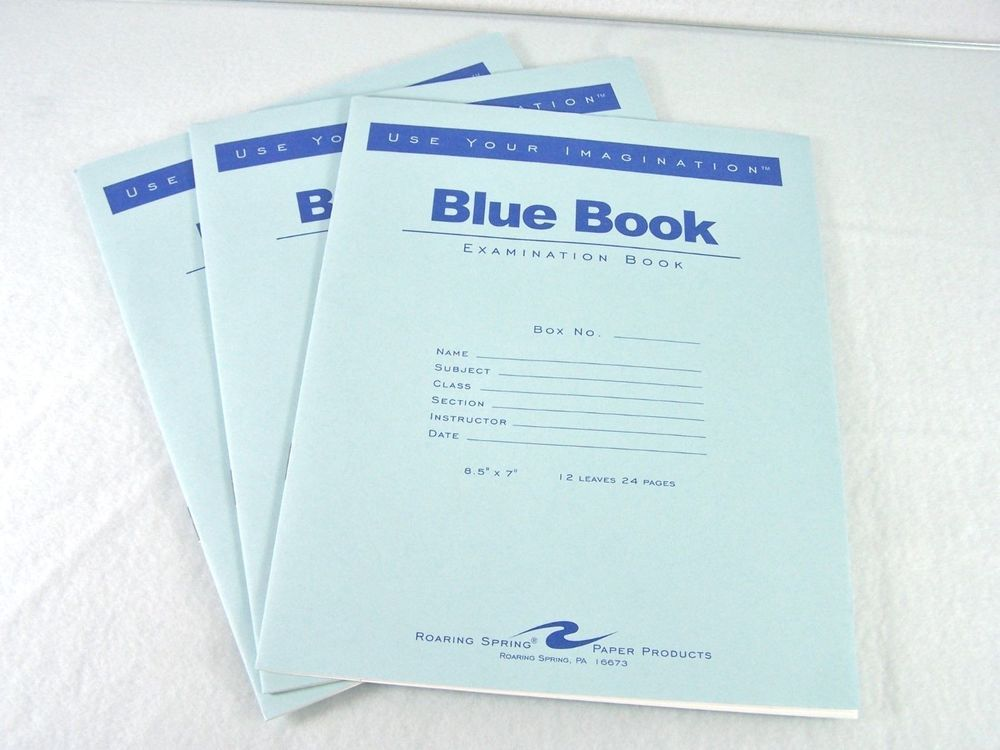 roaring spring lot set of three blue book paper college  roaring spring exam blue book legal rule 8 x 7 white 12 pages 77513