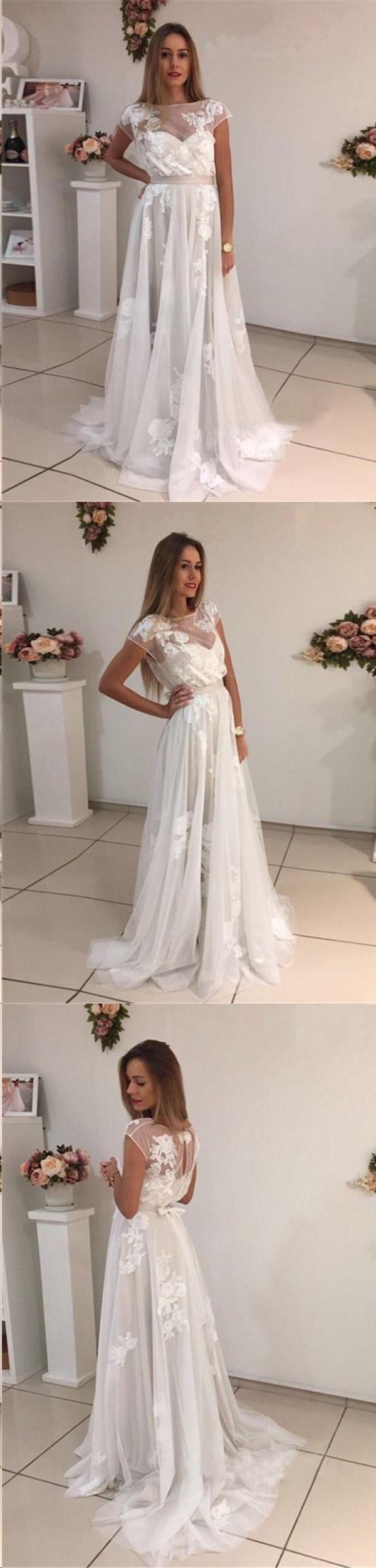 Beautiful prom dresses a line bateau appliques ivory short train