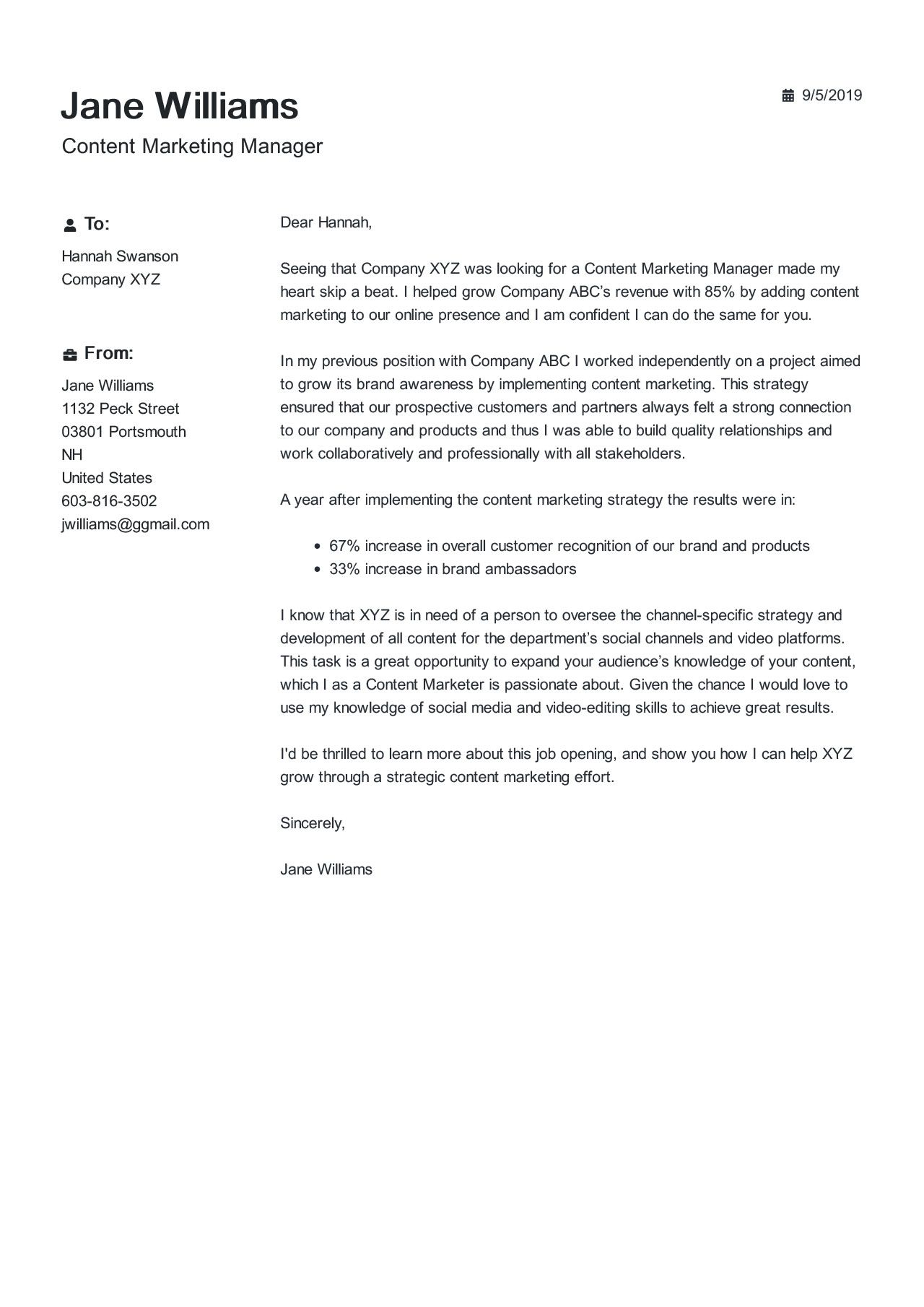 Content Marketing Manager Cover Letter Example in 2020