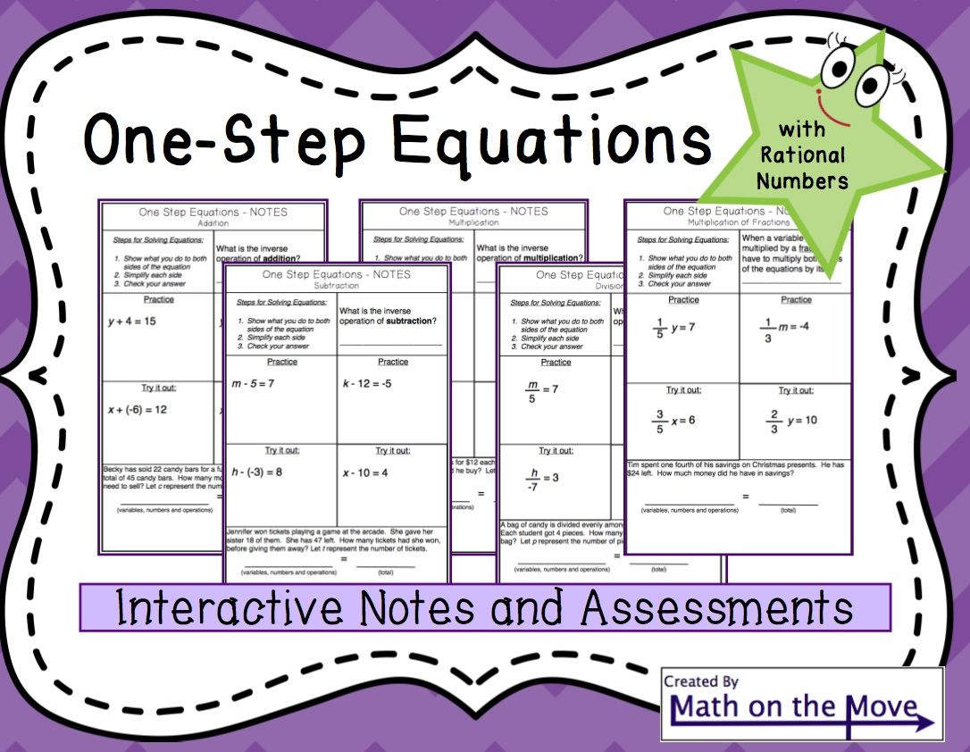 One Step Equations With Rational Numbers