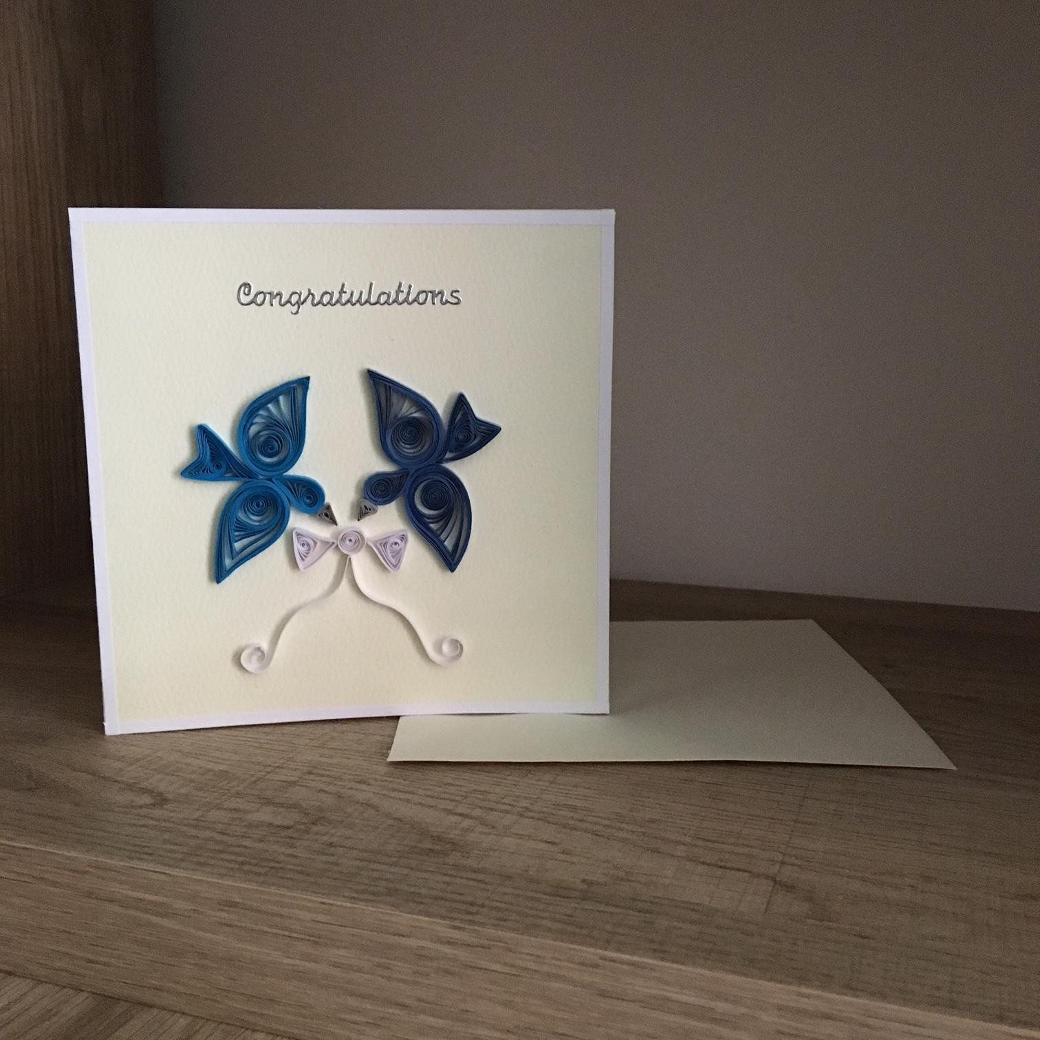 Handmade 3D Congratulations Quilling Wedding Card with
