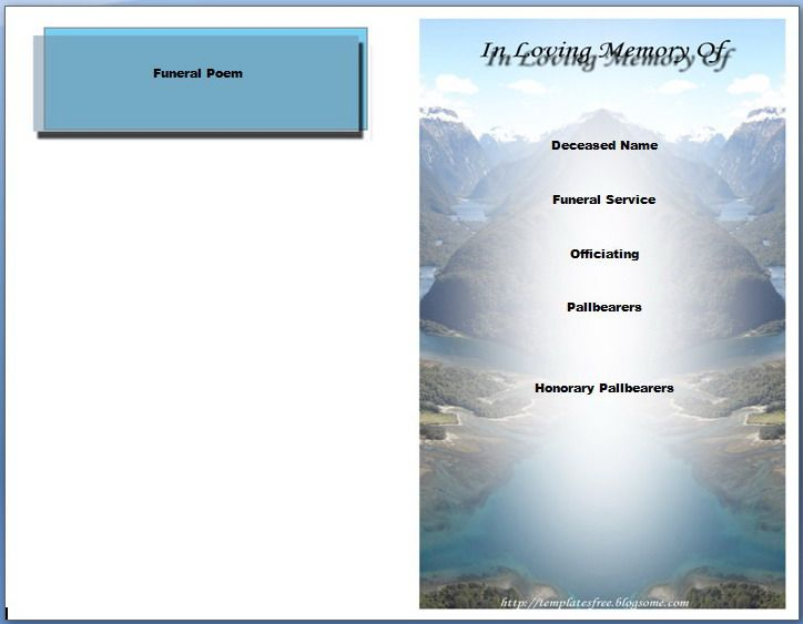 Free Funeral Program Templates Free Funeral Program Template For - funeral program templates free downloads