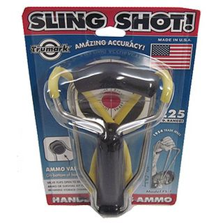 @Overstock - This slingshot folds down to a compact size. This slingshot's unique bottom valve 'flips' open, to dispense 5/16, 3/8 or 1/2 ammo. http://www.overstock.com/Sports-Toys/Folding-Slingshot/7263663/product.html?CID=214117 $10.99