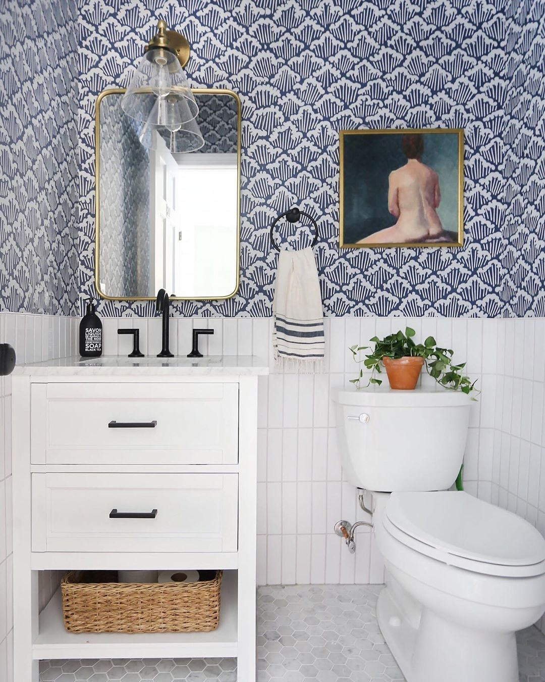 Erin Wheeler On Instagram Hello And Happy Saturday I Just Hit Publish On A New Blog Post All A Modern Powder Rooms Powder Room Wallpaper Powder Room Remodel New country housepowder room