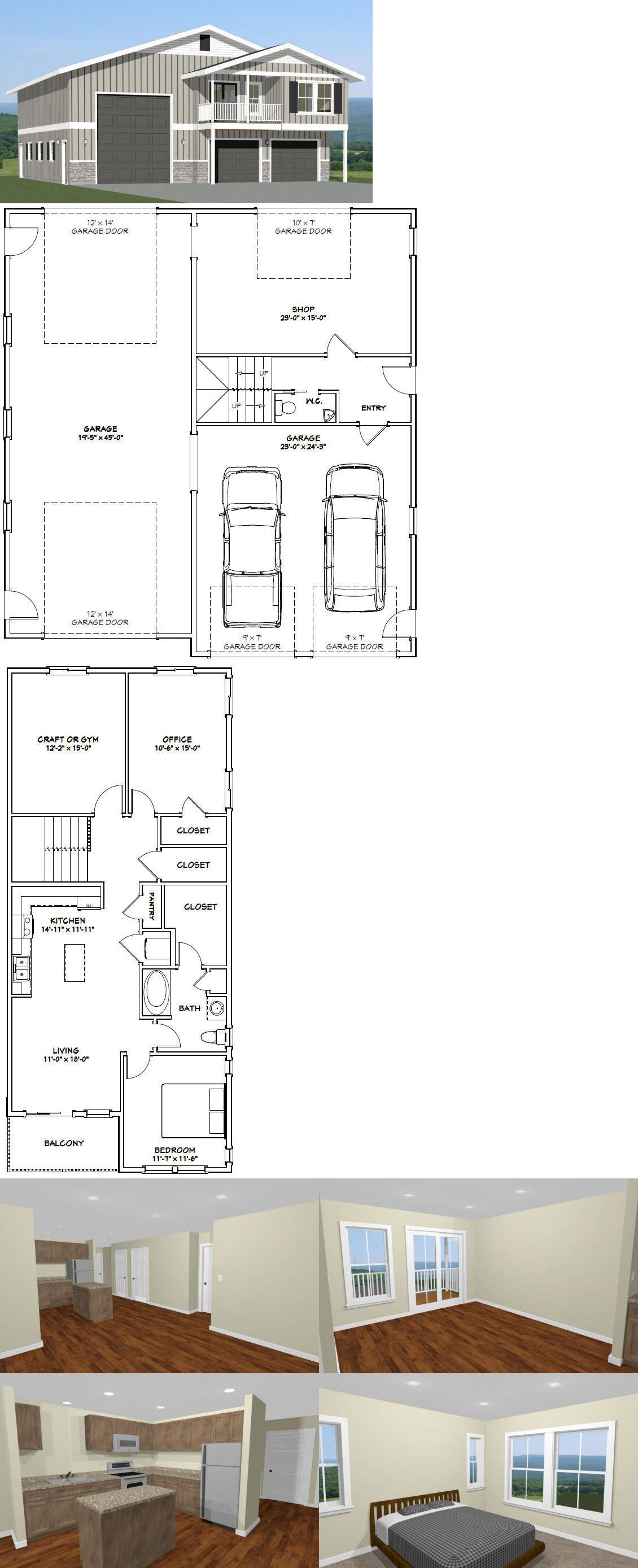 Building Plans And Blueprints 42130 44x48 Apartment With 2 Car 1 Rv Garage Pdf Floorplan 645 Sqft Model 1f It Now Only 29 99 On Ebay