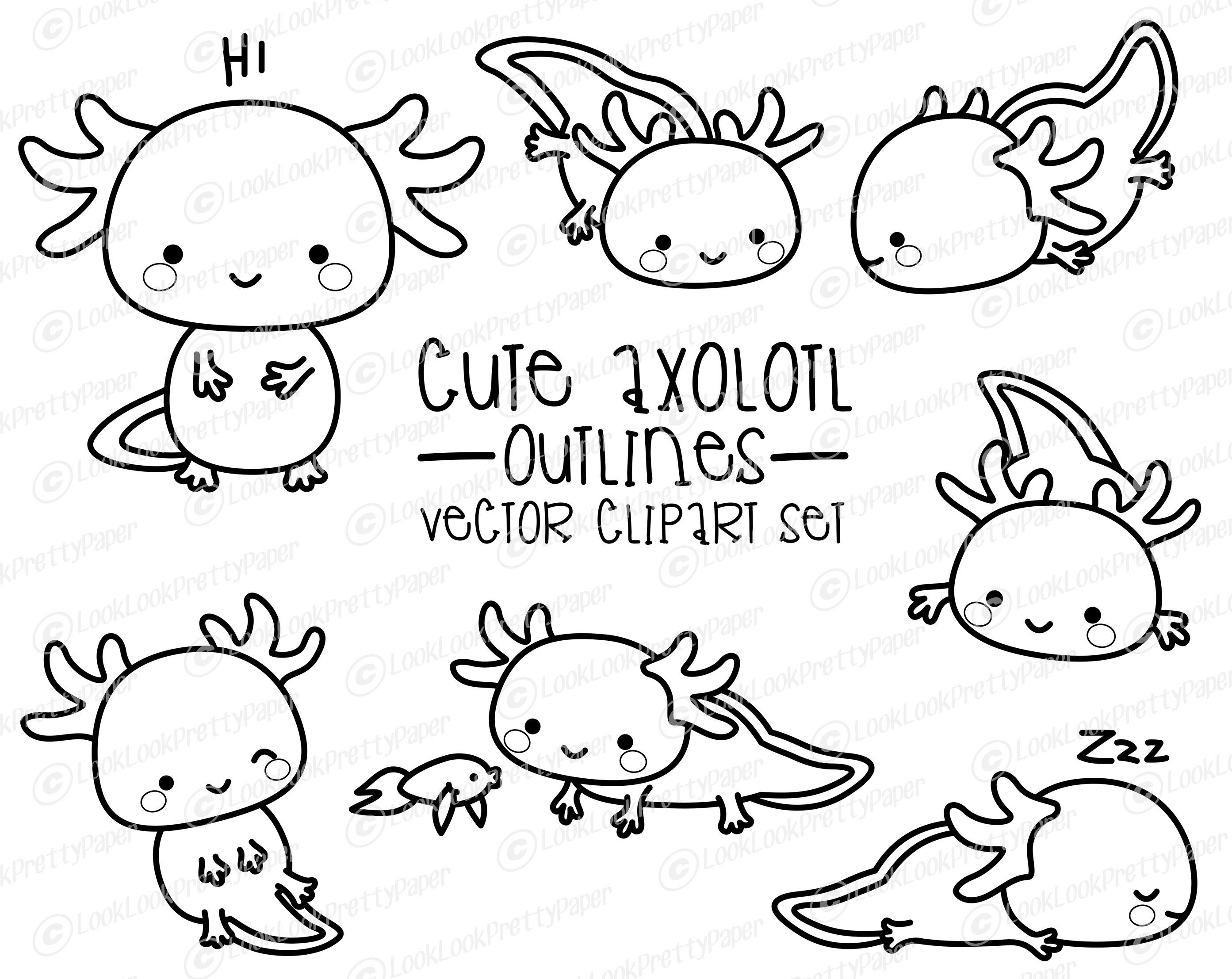 Premium Vector Clipart Kawaii Axolotl Outlines Cute Axolotl Outlines Clipart Set High Quality Vectors Instant Download Clip Art Axolotl Kawaii Clipart